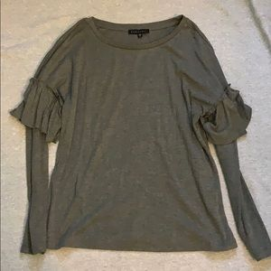 Gray long sleeve tee with ruffles